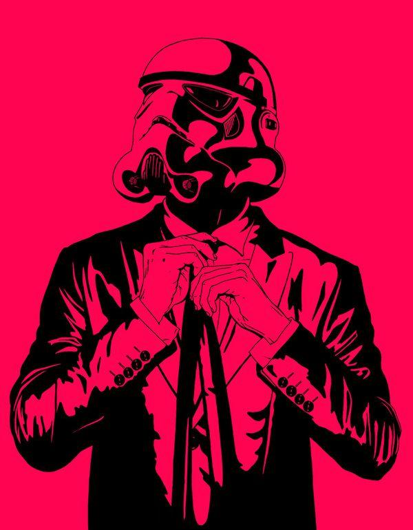 Stormtrooper adjusting a tie amazing illustrations - Stormtrooper suit wallpaper ...