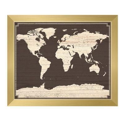 Click Wall Art World Map On Dark Wood Framed Graphic Art Art Wall Art Art World