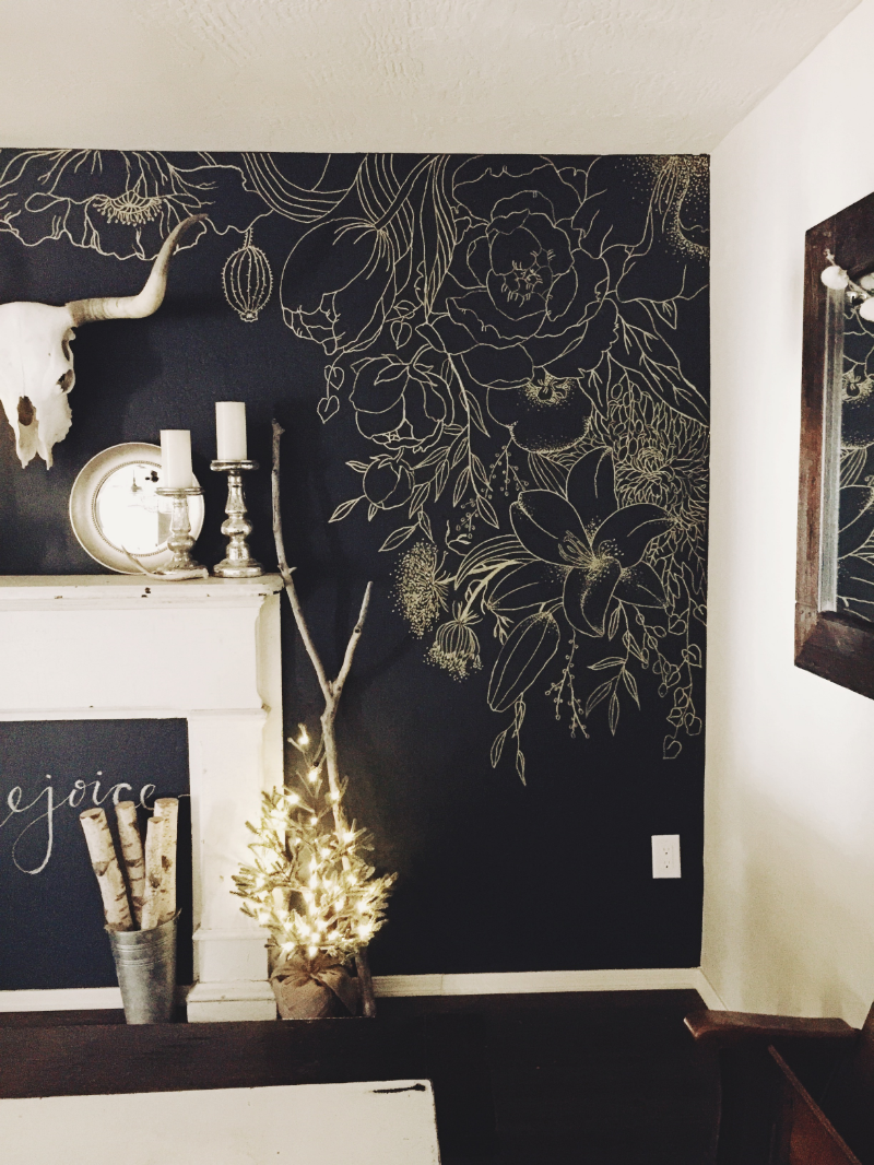 Faux wallpaper gold paint marker mural timeline wallpaper and