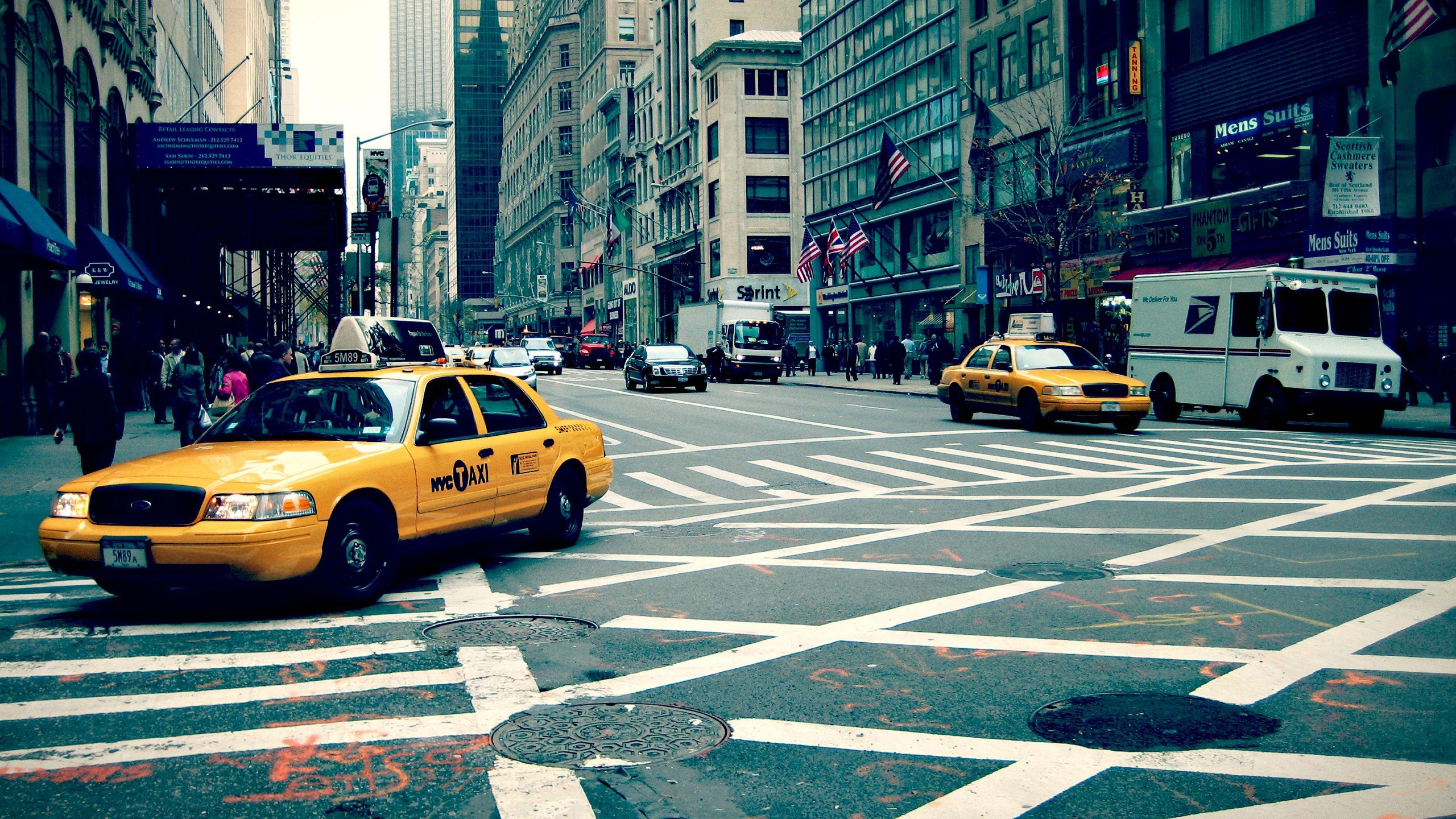 Download Wallpaper 3840x2160 New York City Street Taxi 4k Ultra Street Pictures New York Taxi New York City Ny