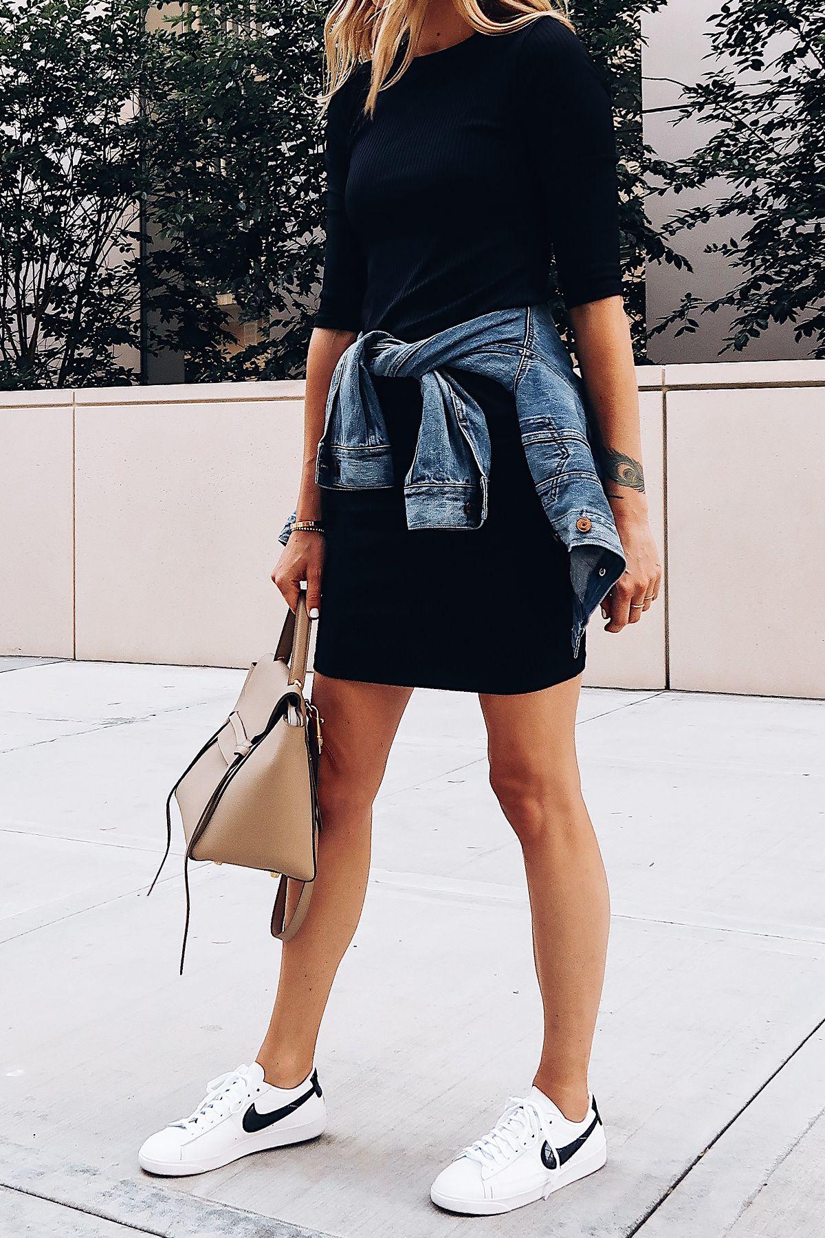 Woman Wearing Little Black Dress Denim Jacket White Nike Blazer Sneakers Celine Mini Belt Bag Fashion Jack Denim Jacket With Dress Casual Dress Outfits Fashion [ 1800 x 1200 Pixel ]