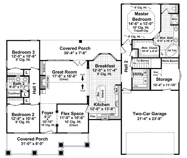 Craftsman Style House Plan 3 Beds 2 Baths 1800 Sq Ft Plan 21 247 Bungalow Style House Plans Craftsman Style House Plans House Plan Gallery
