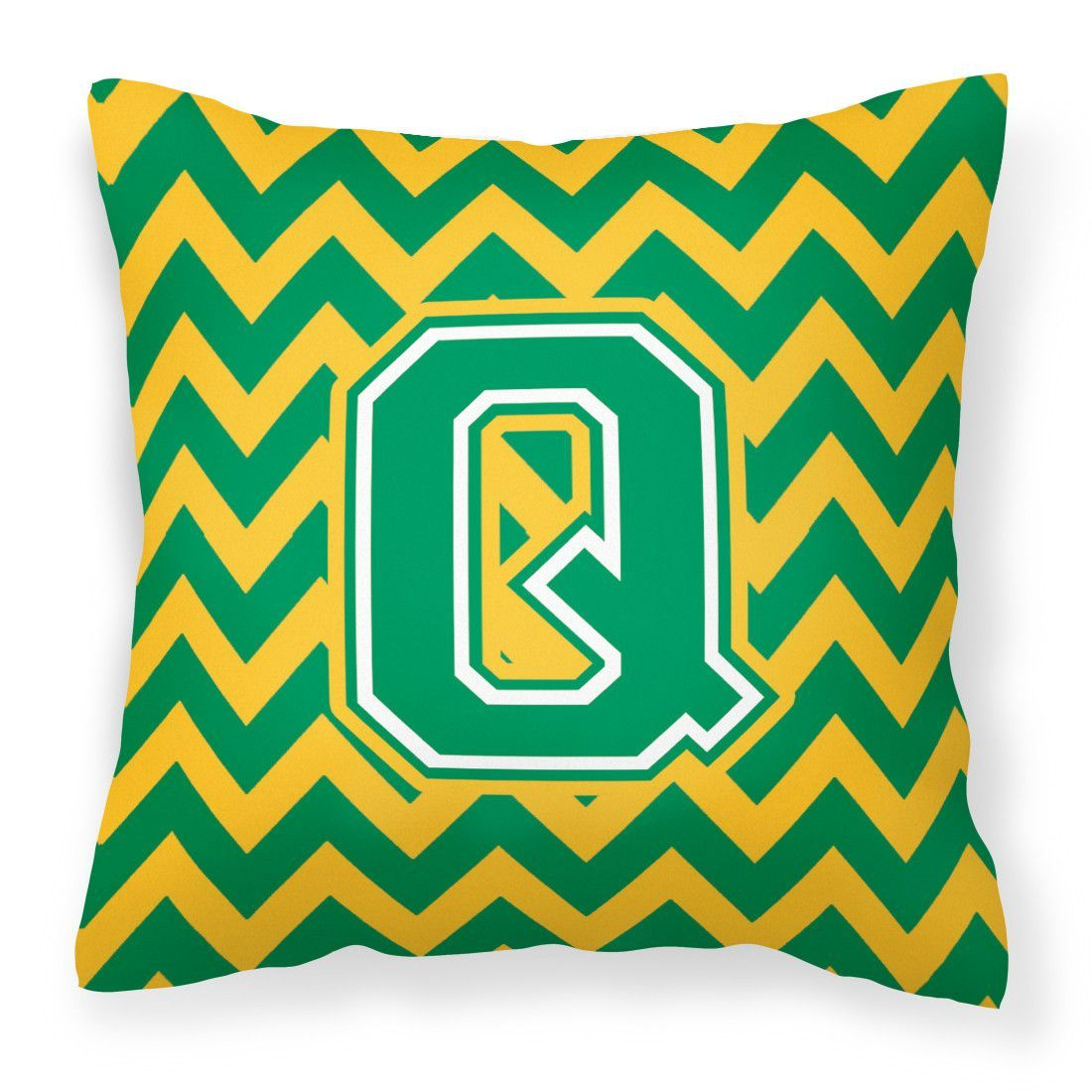 Letter Q Chevron Green and Gold Fabric Decorative Pillow CJ1059-QPW1414