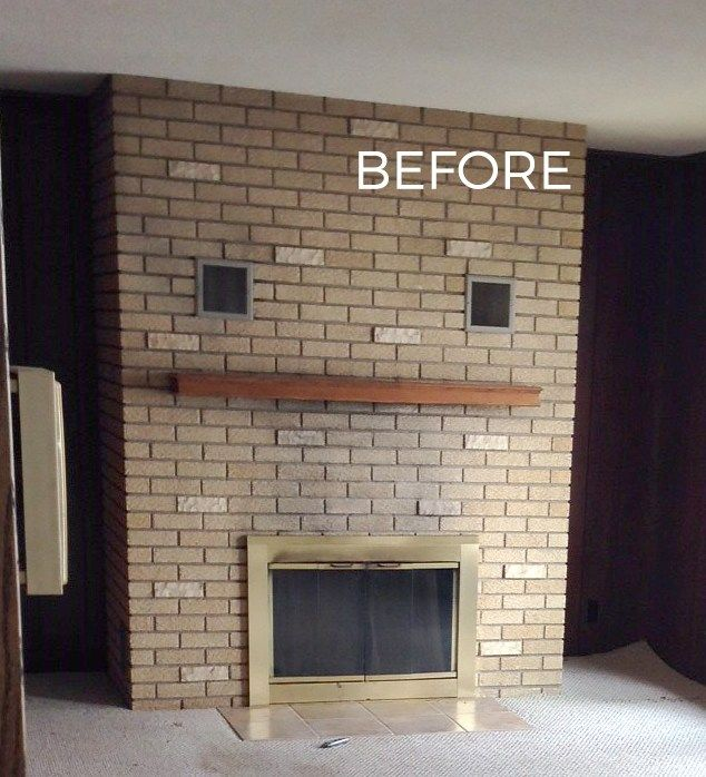 70s Fixer Upper Brick Fireplace Makeover Before And After Schneiderman S The Blog Design And Decorating Brick Fireplace Brick Fireplace Makeover Fireplace Remodel