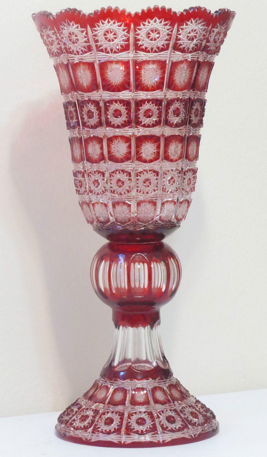 "Amazing Caesar Crystal Bohemian Czech ""Paula"" Red Cut to Clear Vase 20"" | eBay"
