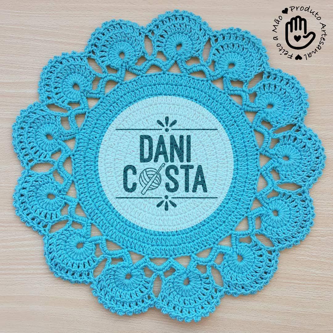 ed8d4cc851 Sousplat de Crochê feito com barbante Extra Cores 100% algodão Fial