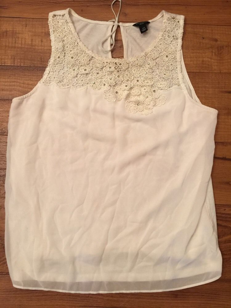 Ann Taylor White Lace Embellished Sleeveless Shirt Women's Sz LP* in Clothing, Shoes & Accessories, Women's Clothing, Tops & Blouses | eBay