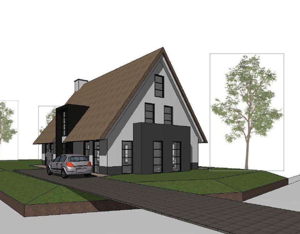 Een nieuw ontwerp voor een vrijstaande woning in een for Aannemer huis bouwen