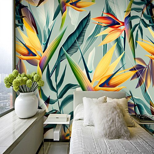 Colorful Tropical Leaf Wallpaper Mural Canvas Wall