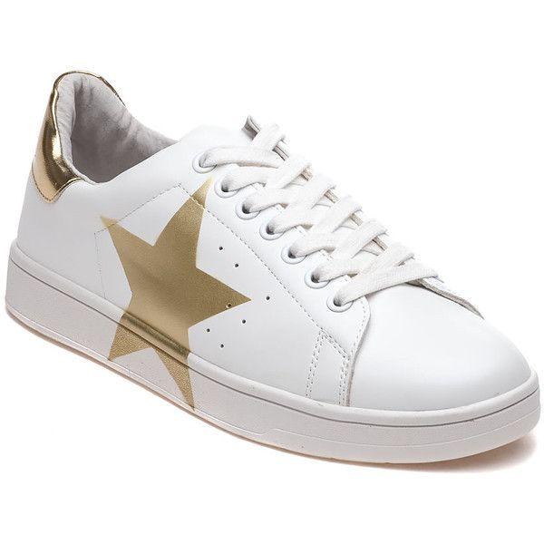 5c257fd2576 STEVE MADDEN Rayner White And Gold Star Sneaker ($69) ❤ liked on ...