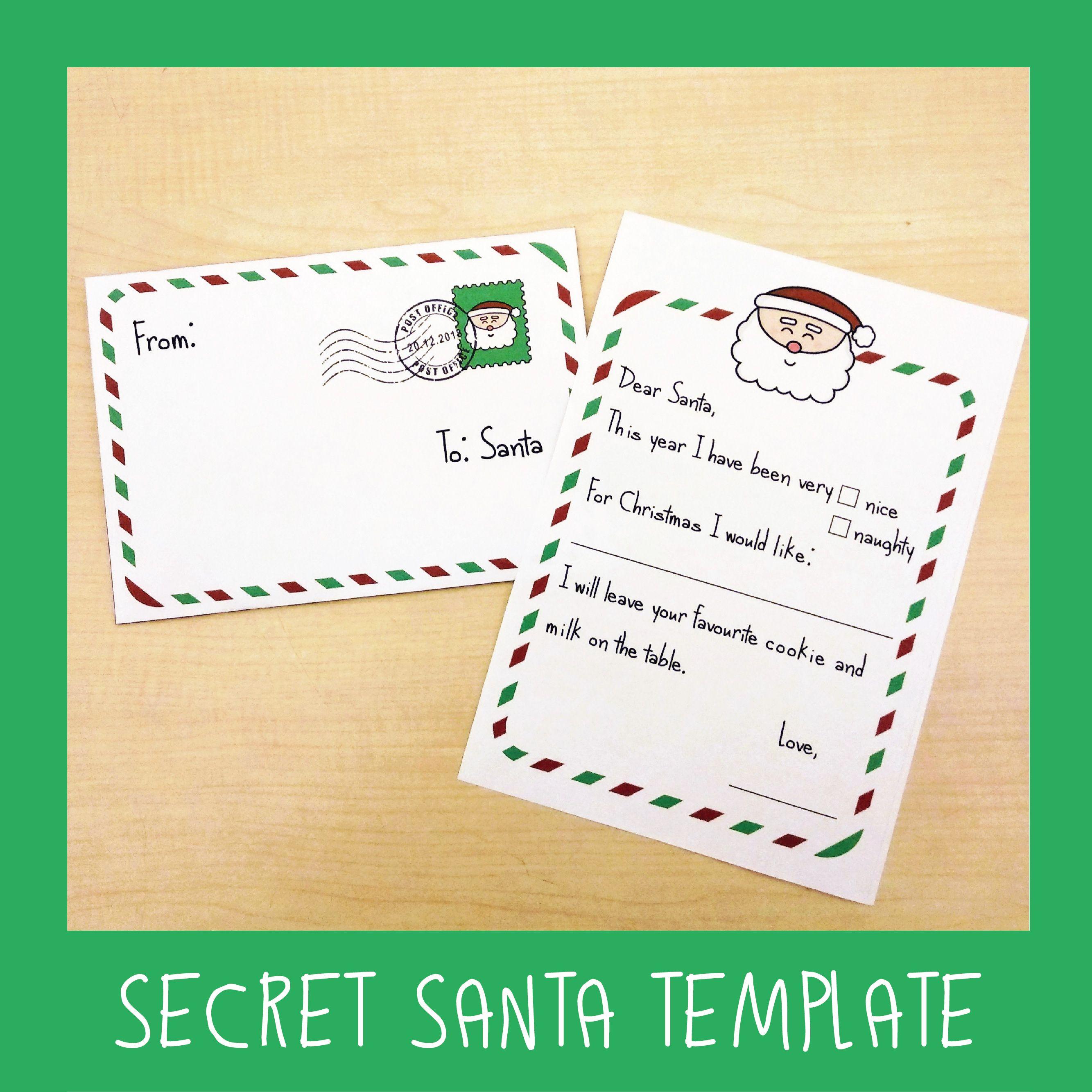 Free Secret Santa Template Santa Letter Template Santa Letter Secret Santa Templates
