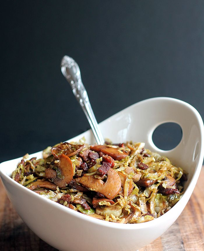 Shredded Brussels Sprouts with Bacon, Mushrooms and Balsamic Vinegar