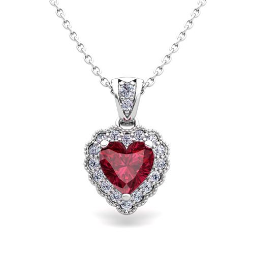 Milgrain diamond and garnet heart necklace in 14k gold pendant milgrain diamond and garnet heart necklace in 14k gold pendant this romantic heart necklace features mozeypictures Images