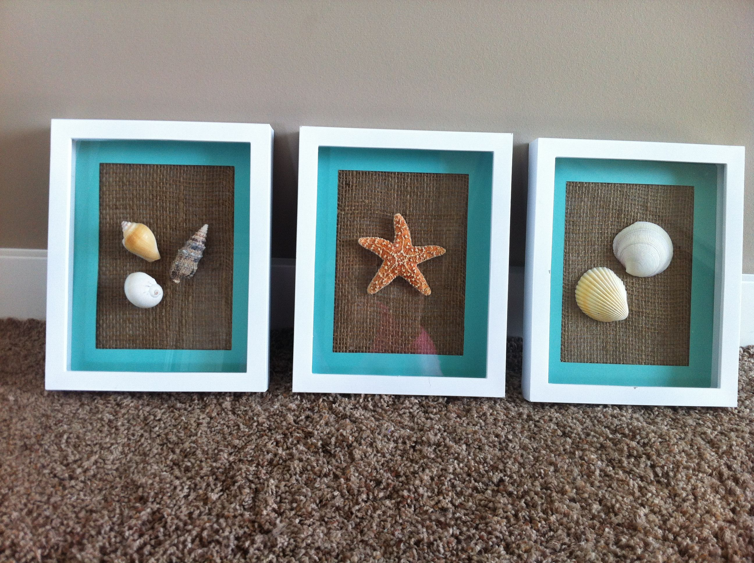 Bathroom Sea Wall Decor : Beach bathroom d?cor small frames blue matting net