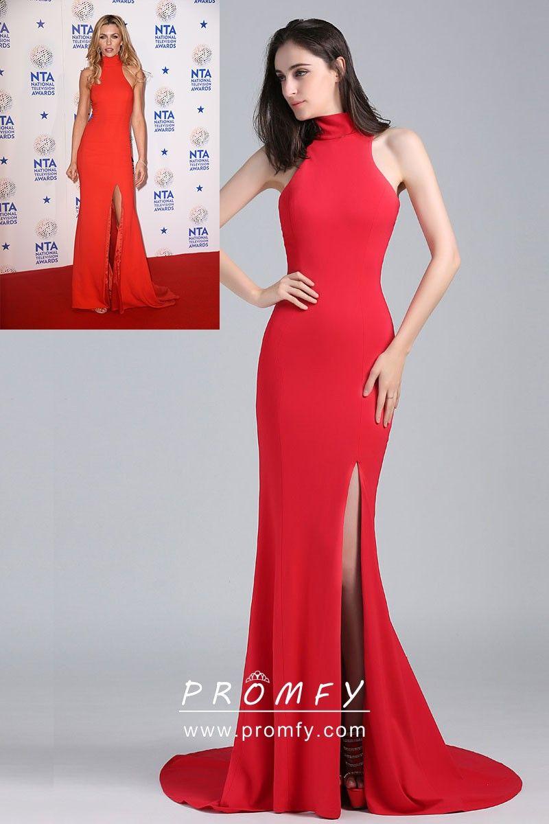 e8b6fcc492 Abbey Clancy celebrity inspired red spandex mermaid floor length formal gown.  High neckline
