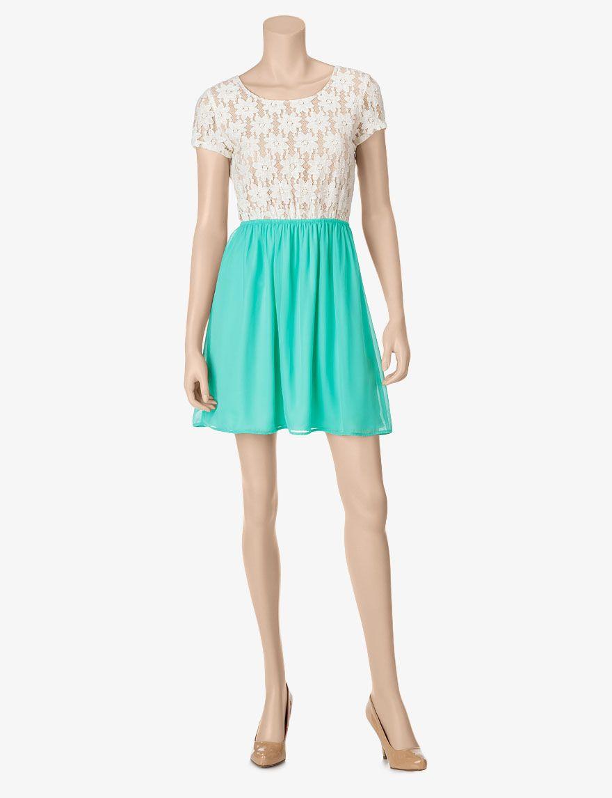 Speechless ivory u mint green lace chiffon dress u juniors dresses