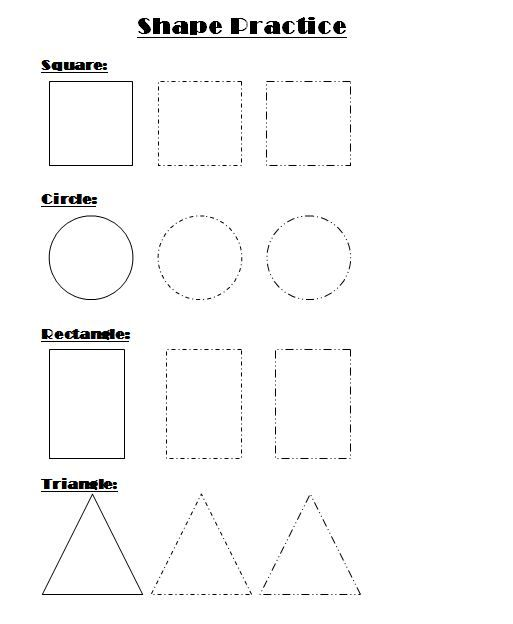 Shape Practice Worksheet For Kindergarten Art Room 104 Pinterest