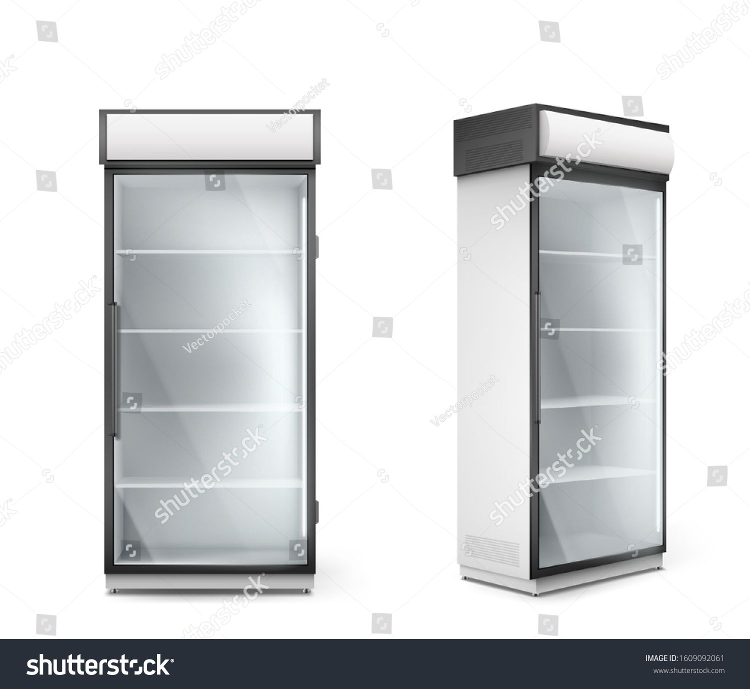 Empty Refrigerator With Transparent Glass Door Vector Fridge For Display Fresh Food And Drink In Supermarket Modern Cool Ad In 2020 Glass Door Glass Transparent