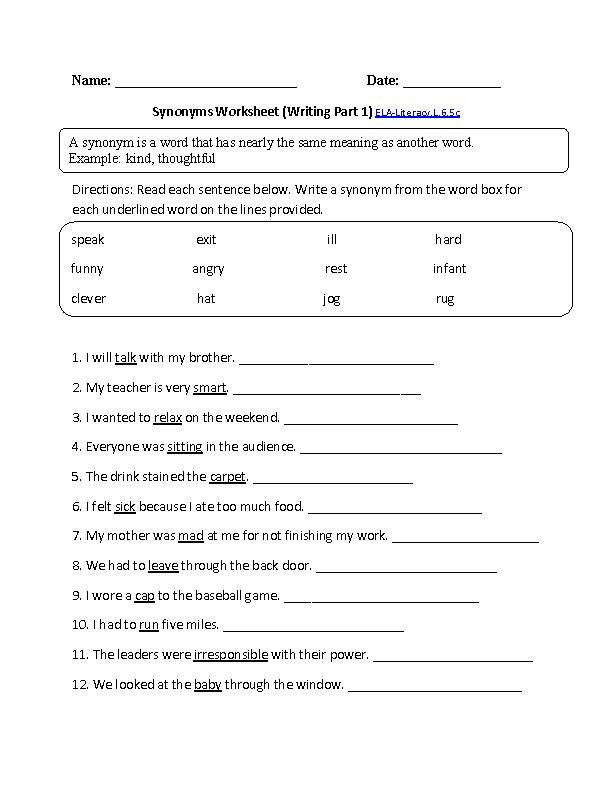 Synonyms Worksheet 1 Ela Literacy L 6 5clanguage Worksheet