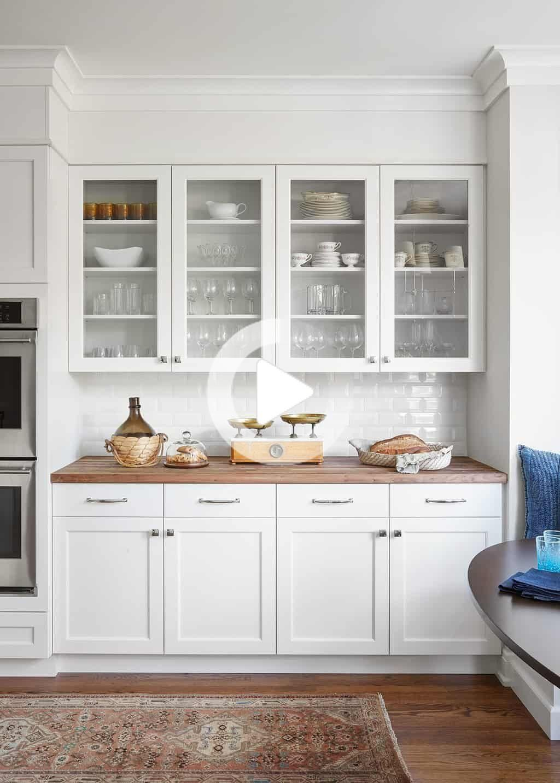 Glazen Pui Witte Kasten Slager Blok Teller Moderne Witte Keuken