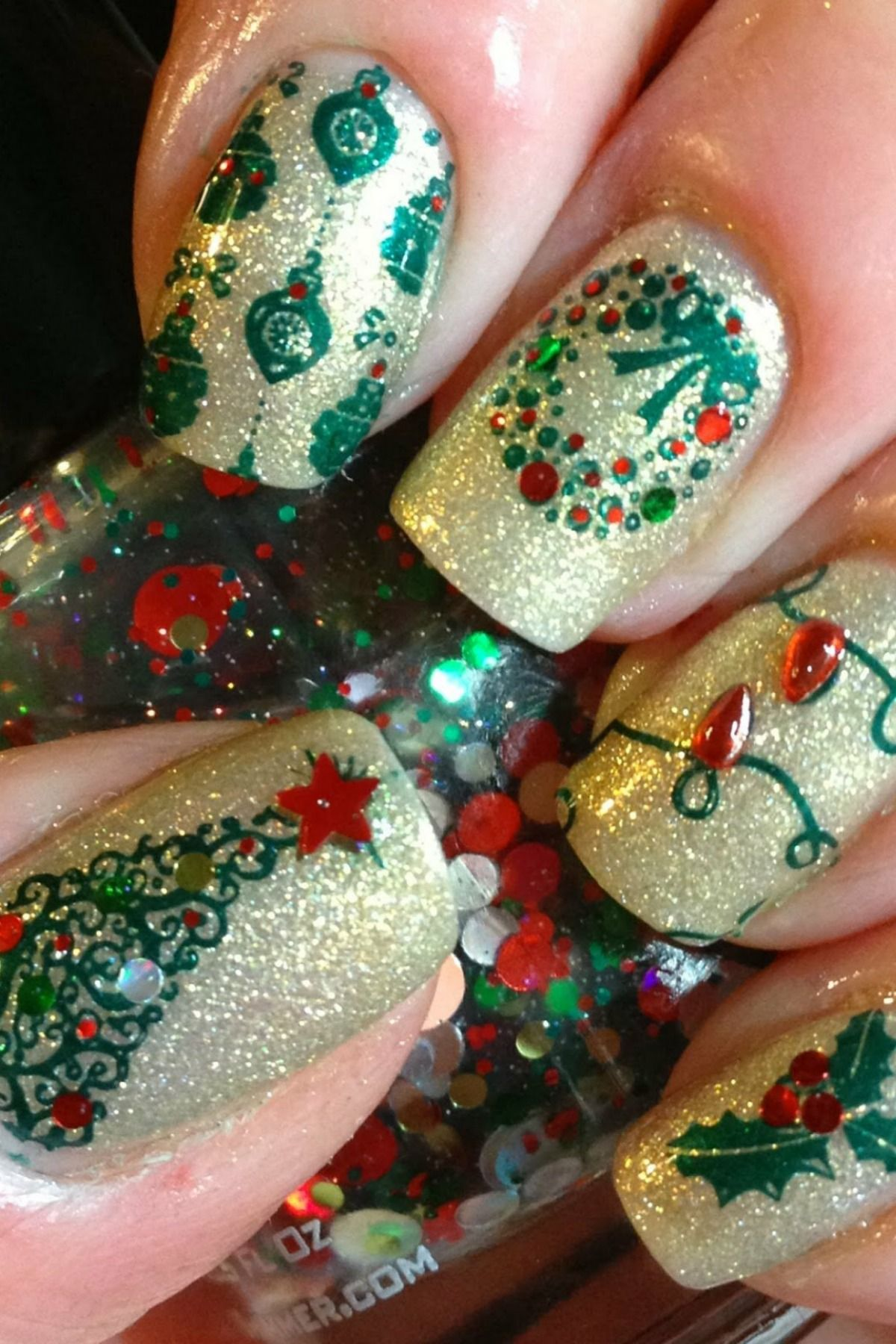 manicure happy new year Christmas nails easy, Christmas