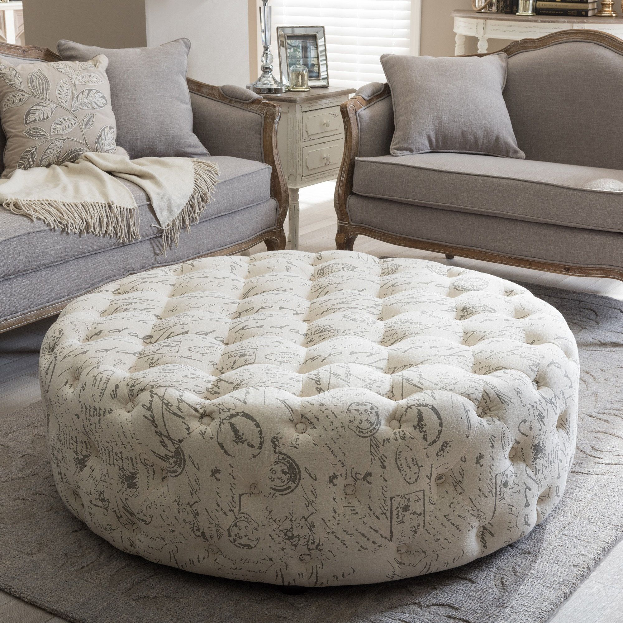 Studio Cardiff Patterned Linen Modern Tufted Ottoman (Ottoman-French ...