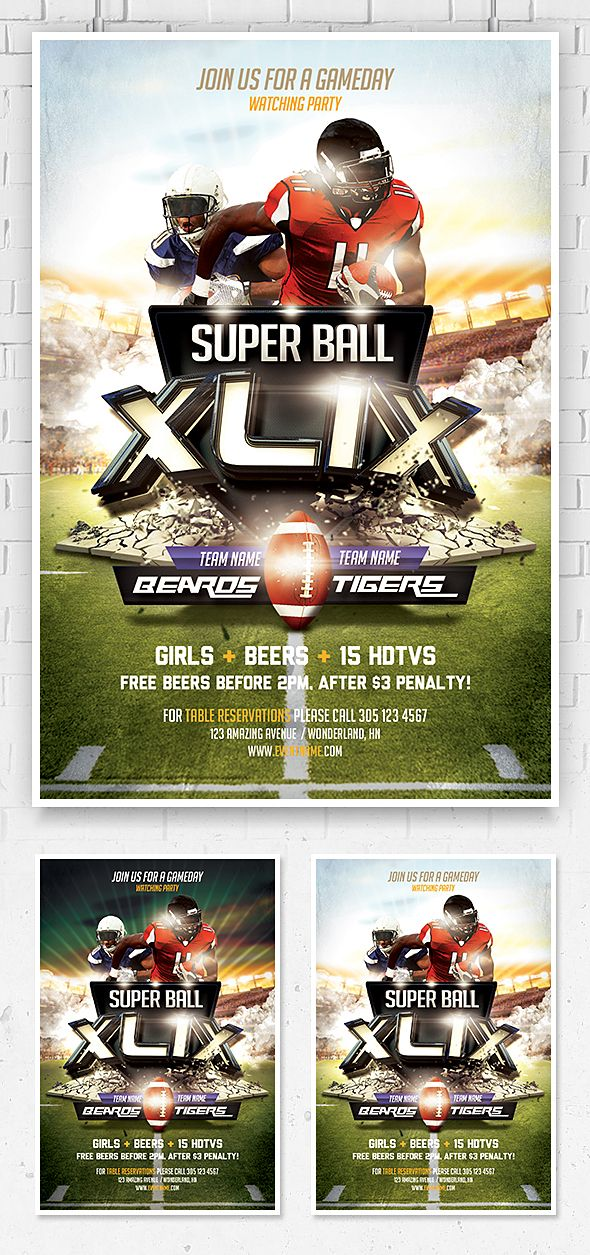 Super Bowl Flyer Template Premium and free graphic design - sports flyer template