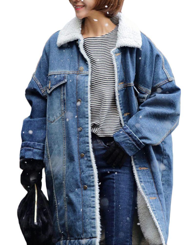 861b2806f83 Купить товар Для женщин зимние Свободные джинсовая куртка флисовая одежда с  длинным рукавом карманов теплые женские Тренчи для женщин Пальто и пуховики  ...