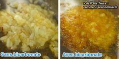 l'astuce pour caraméliser les oignons et les faire cuire 2 fois plus vite est de mettre du bicarbonate pendant la cuisson
