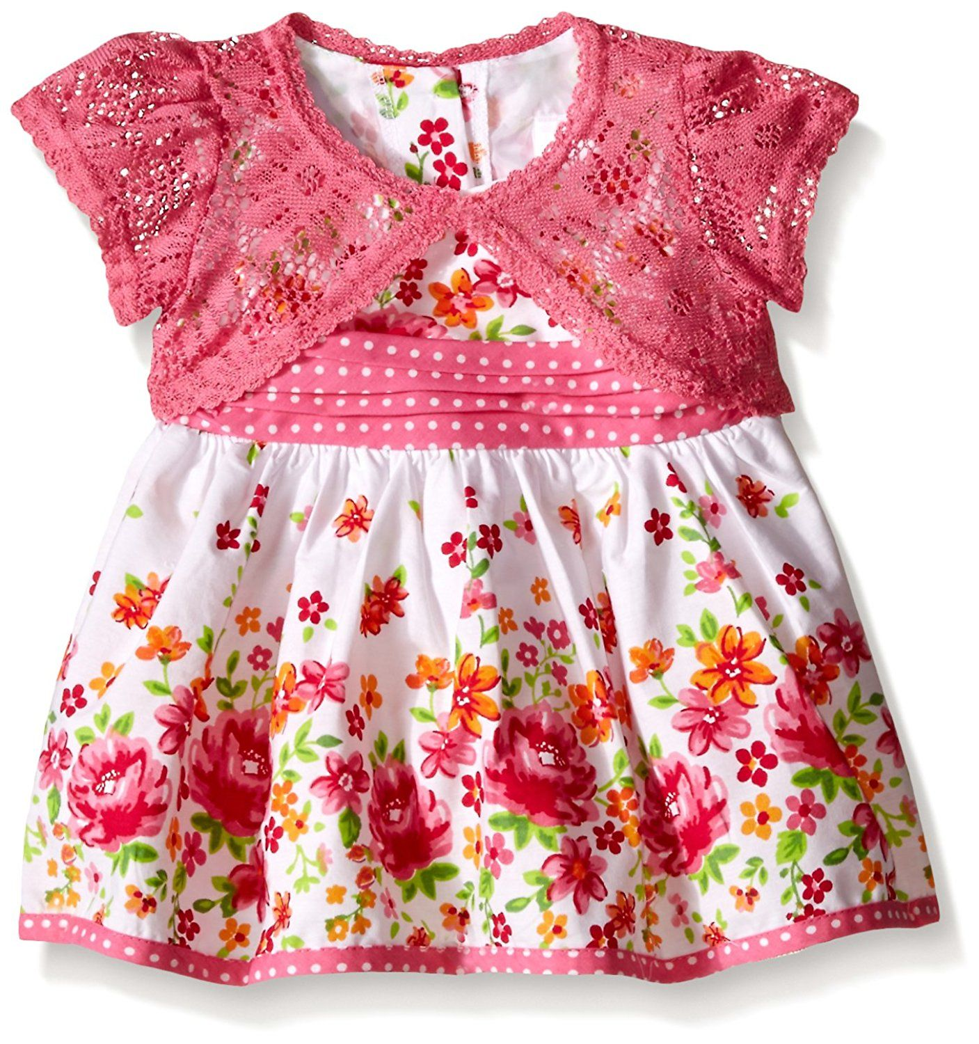 Youngland Baby Girls Floral Print Dress With Crochet Lace Cardigan