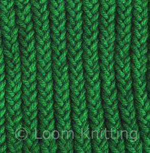one-over-three (one new over three old loops) - tighter, stiffer, sturdier, looks more like a braid than other stitches (better for totes, purses, etc.) - - pictures, explanations - THIS IS A GREAT SITE WITH A LOT OF GOOD ADVICE ABOUT COMBINING COLORS, TYPES OF YARN, AND ETC. - Loom Knitting Stitches- MacPherson Arts & Crafts