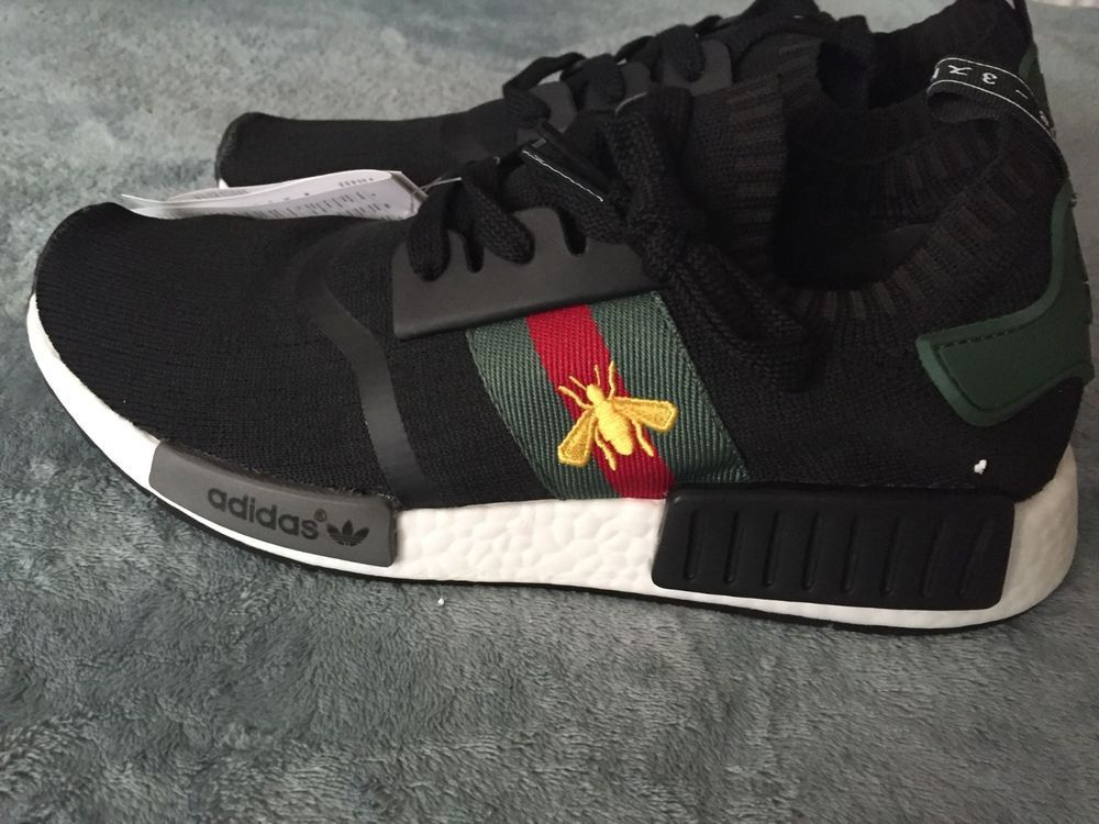adidas custom white gucci nmd new size 9.5 fashion