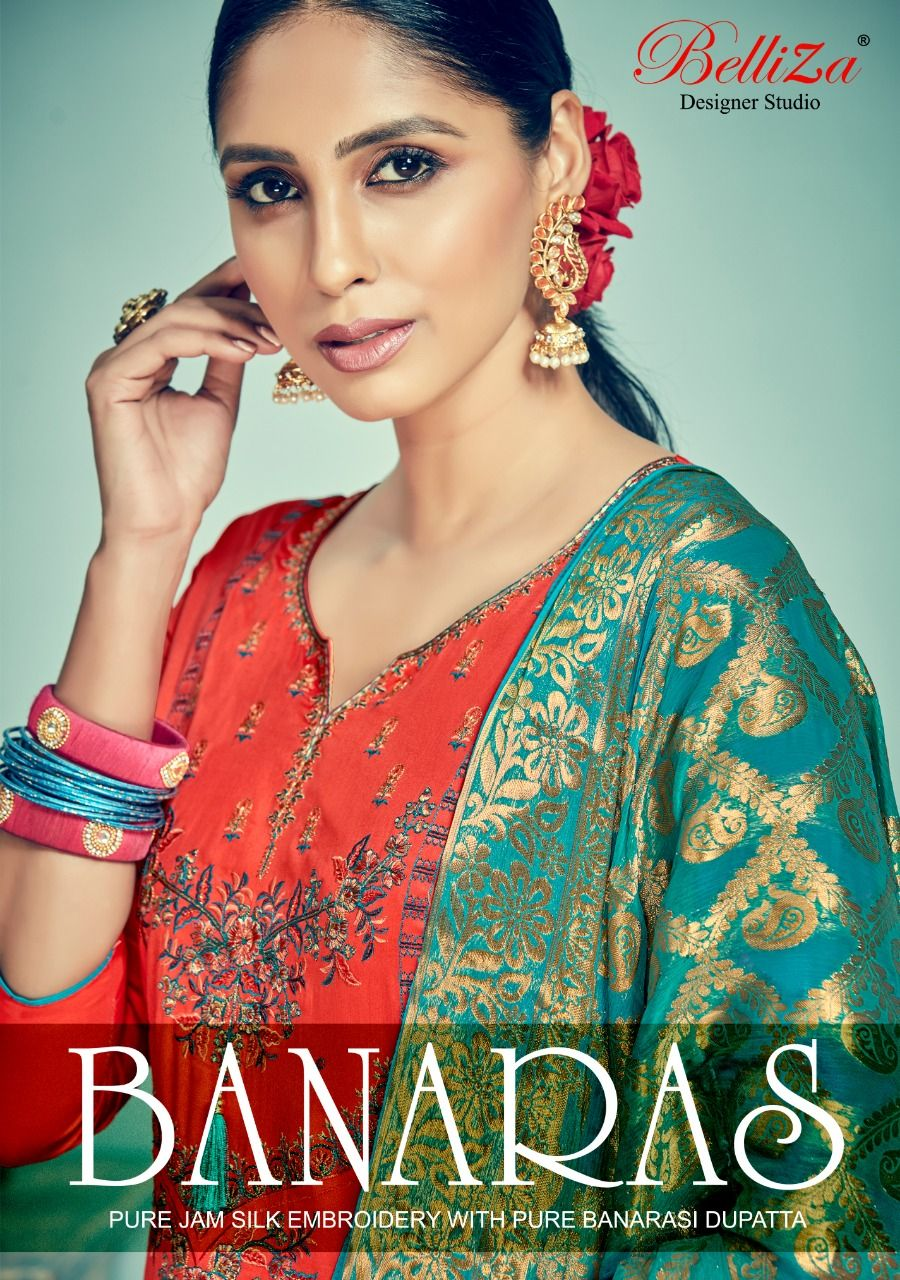 478d42c532 Belliza Designer Studio Banaras Pure Jam Silk with Heavy Embroidery Work Dress  Material Collection at Wholesale Rate
