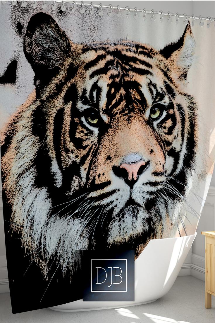 Tiger Shower Curtain Big Cat Sketch Design Animal Shower