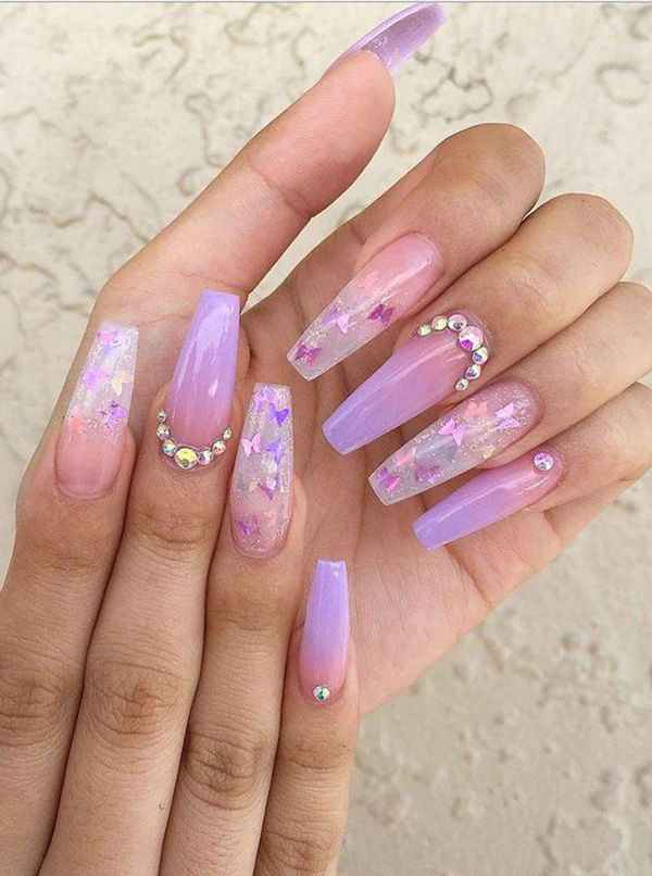 40 Unique And Special Coffin Long Nail Art For You Purple Acrylic Nails Purple Ombre Nails Ombre Acrylic Nails