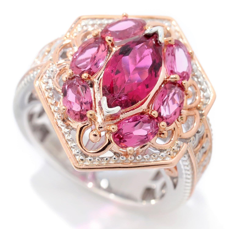 Michael Valitutti Palladium Silver Multi Shape Pink Tourmaline ...