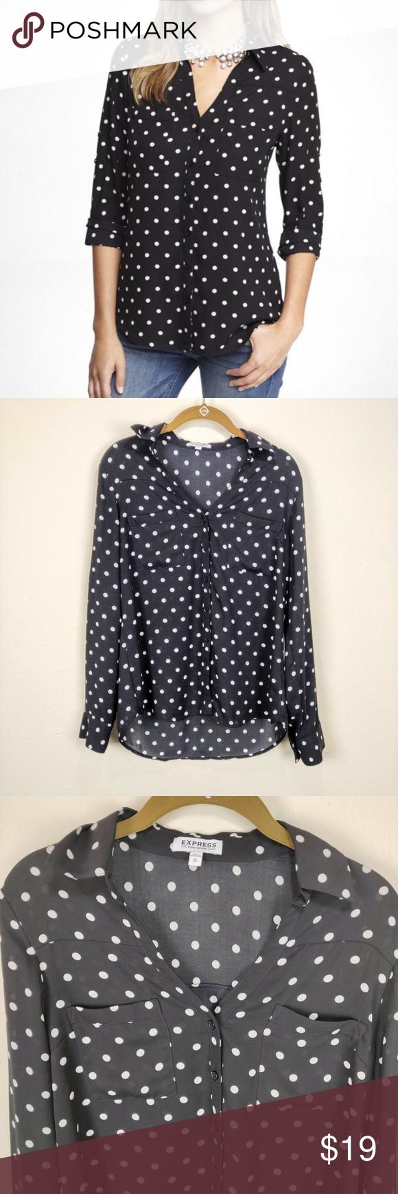 95e0fd24968132 Express Black White Polkadot Button Down Shirt 3 4 Sleeve polyester black  with white polka