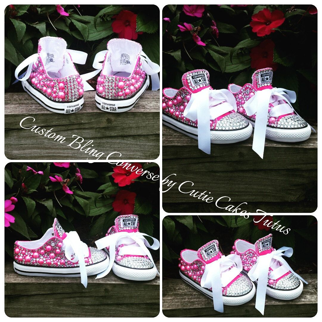 d6a3839a2025 Diva Pink Pearl and Rhinestone Custom Low-top Converse Shoes by  CutieCakesTutus on Etsy