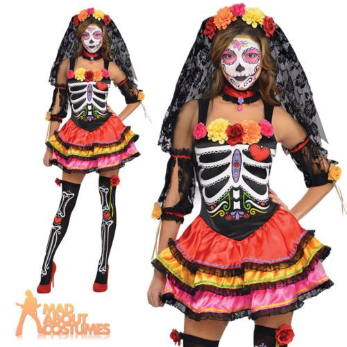 Day Of The Dead Senorita Style Long Ladies Fancy Dress Costume