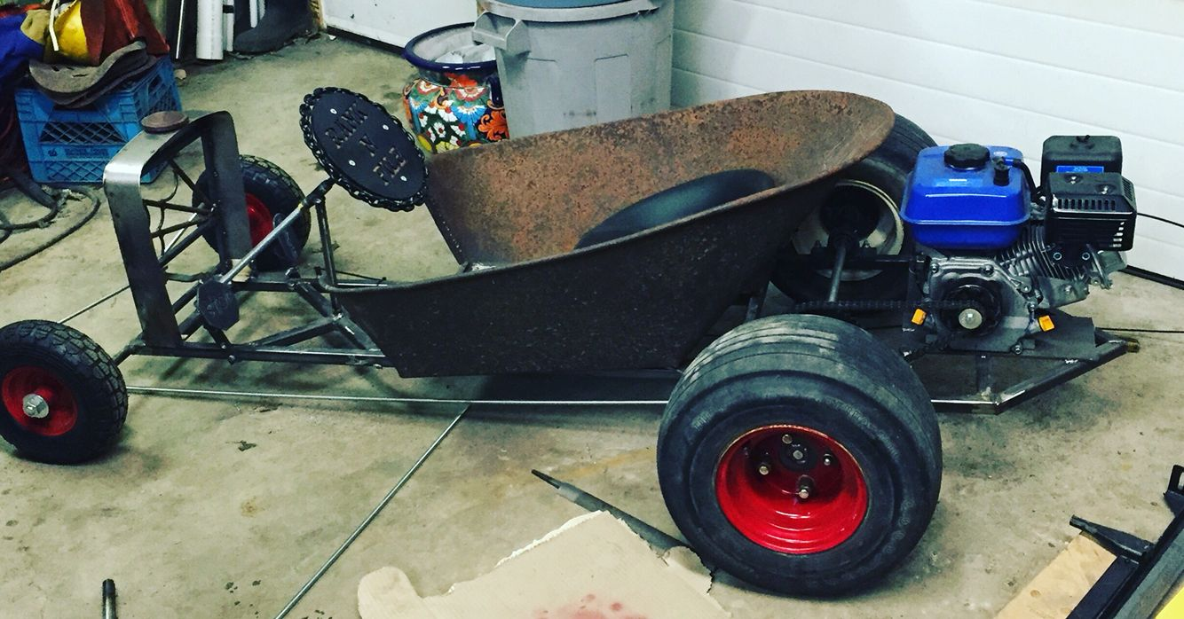 wheel barrow go kart rat rod handmade rank n file. Black Bedroom Furniture Sets. Home Design Ideas