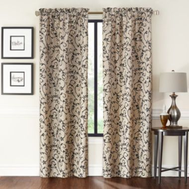 Saratoga 2 Pack Flocked Rod Pocket Curtain Panels Found At