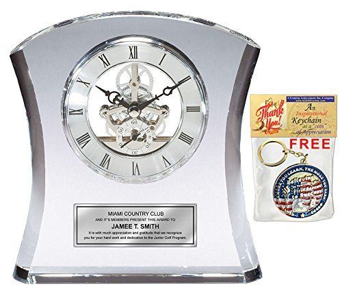Tower Da Vinci Crystal Clock With Silver Dial And Silver Engraving Plate. Personalized  Desk Clock