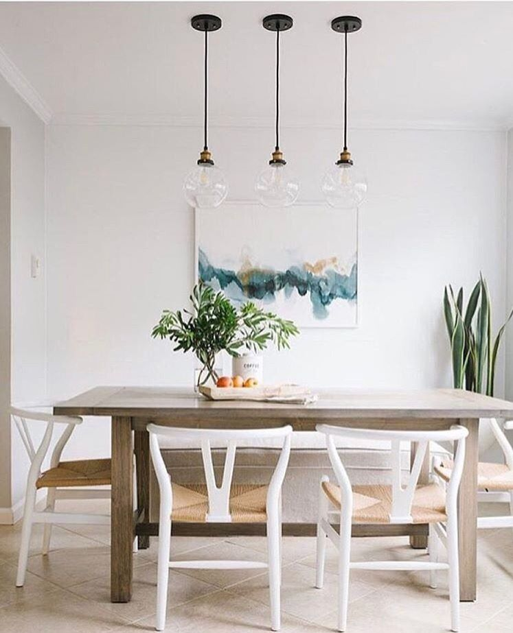 Natural Dining Table With White Chairs