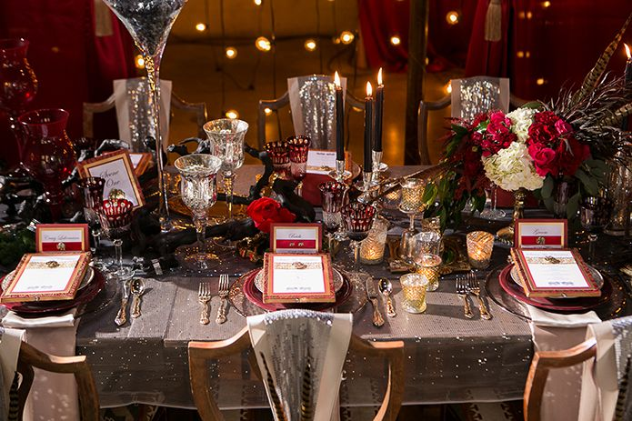 Parisian Circus Wedding Luce Loft Reception Lush Tablescape With