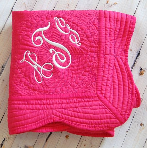 Hot pink baby quilt personalized baby blanket baby girl nursery hot pink baby quilt personalized baby blanket baby girl nursery decor baptism gift new baby gift 36 x 46 inches pink quilt negle Image collections