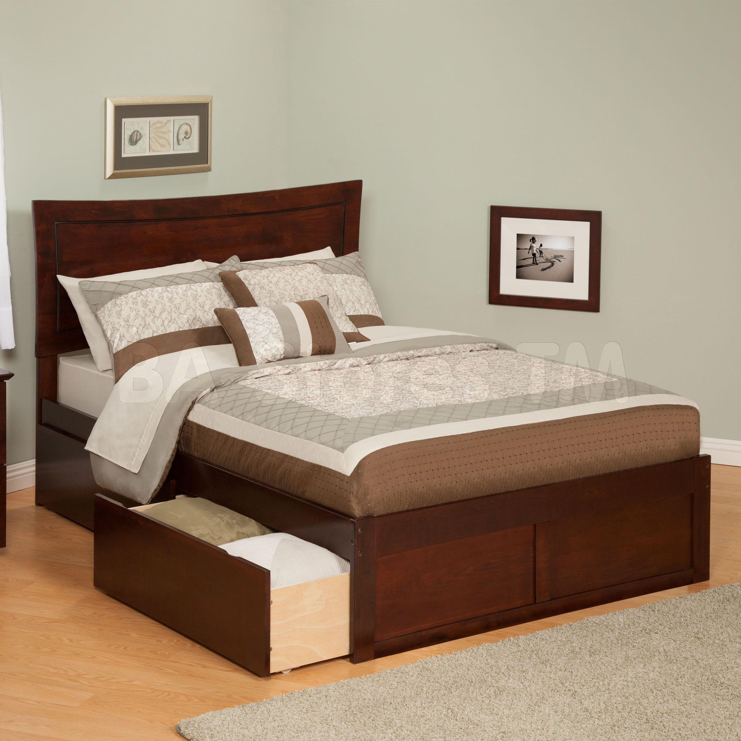 Metro Platform Bed Flat Footboard Urban Drawers in