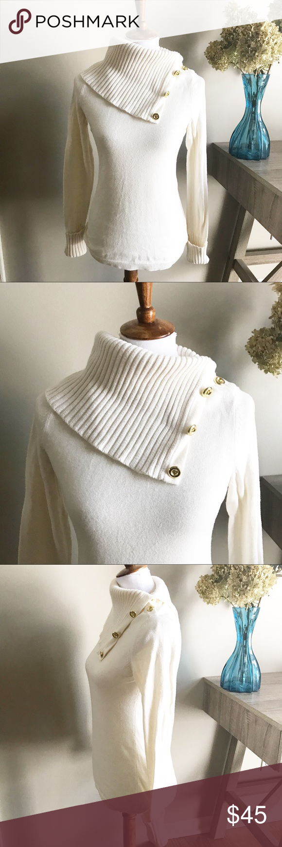 Banana Republic Button Cowl Neck Sweater size S | Cowl neck ...
