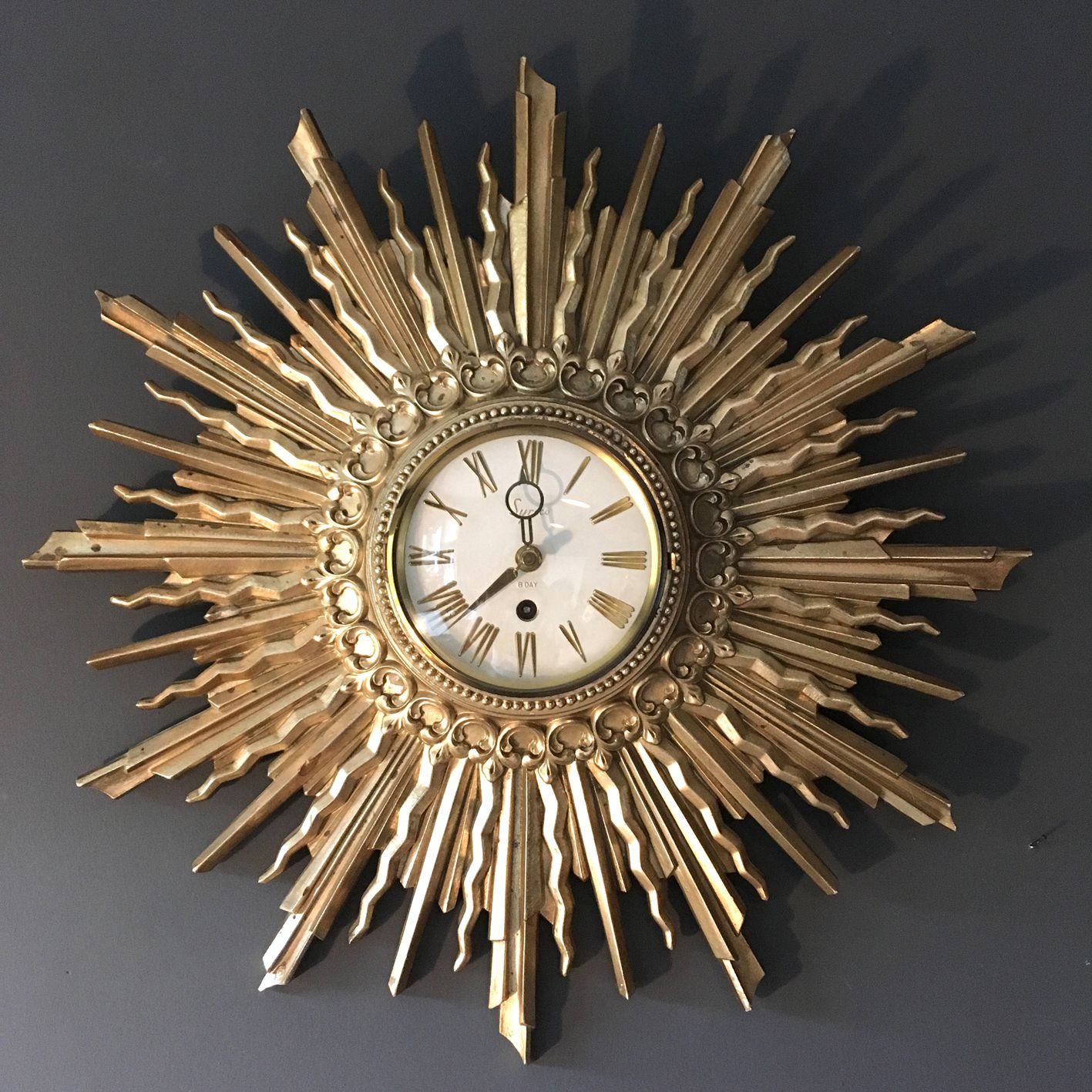 1963 Syroco Sunburst Wall Clock American Clock Made In The Usa 8 Day Movement Beautiful Gold Wooden Sunburst Design White F Clock Vintage Clock Wall Clock