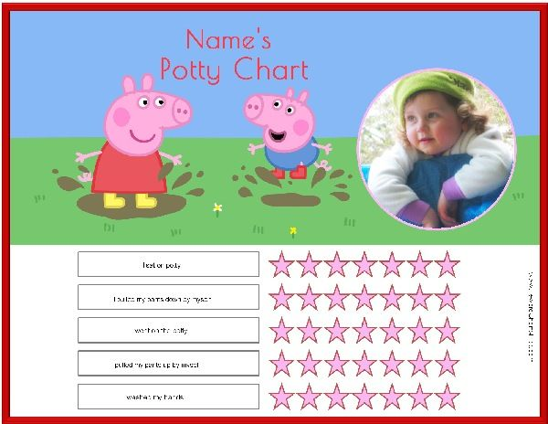 free printable peppa pig potty training chart in five designs with your childs photo and name
