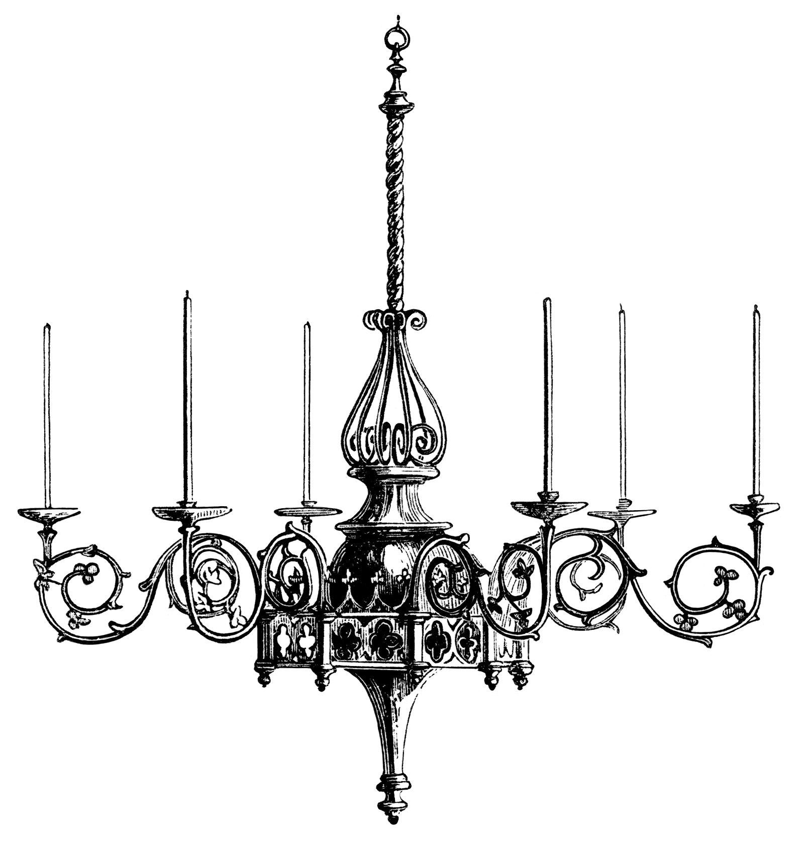 Victorian chandelier illustration, black and white ...